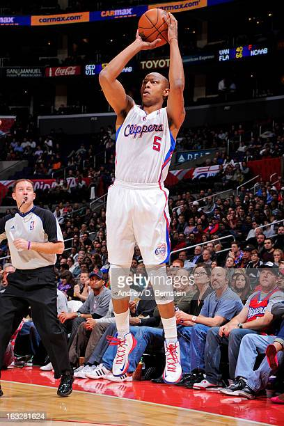 Caron Butler of the Los Angeles Clippers shoots a threepointer against the Milwaukee Bucks at Staples Center on March 6 2013 in Los Angeles...
