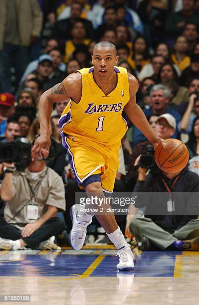 Caron Butler of the Los Angeles Lakers advances the ball upcourt against the New Orleans Hornets during the game at Staples Center on December 22...