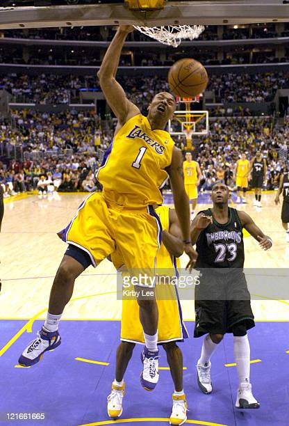 Caron Butler of the Los Angeles Lakers dunks during the NBA game between the Los Angeles Lakers and the Minnesota Timberwolves at the Staples Center...