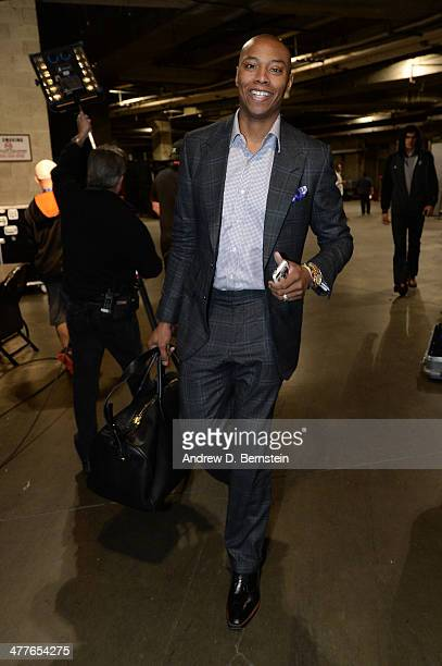 Caron Butler of the Oklahoma City Thunder arrives at STAPLES Center before a game against the Los Angeles Lakers on March 9 2014 in Los Angeles...