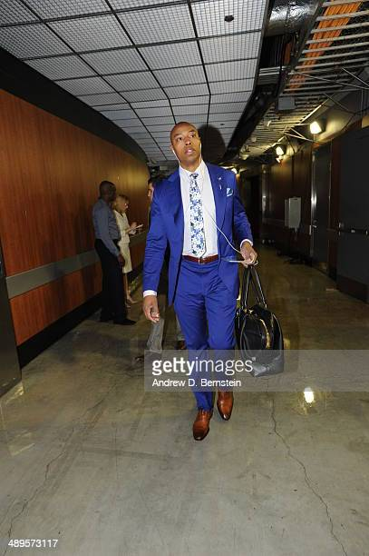 Caron Butler of the Oklahoma City Thunder arrives at the arena before a game against the Los Angeles Clippers in Game Four of the Western Conference...