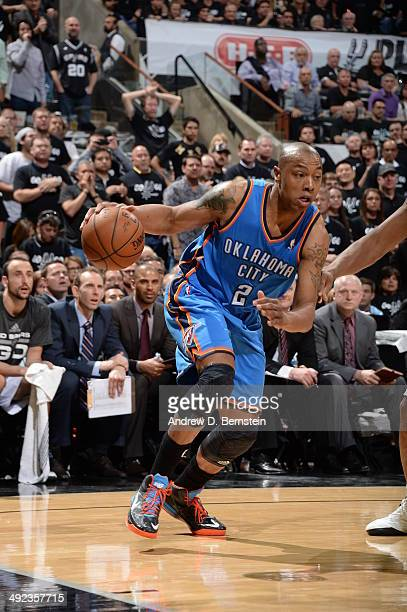Caron Butler of the Oklahoma City Thunder drives to the basket against the San Antonio Spurs during Game One of the Western Conference Finals during...