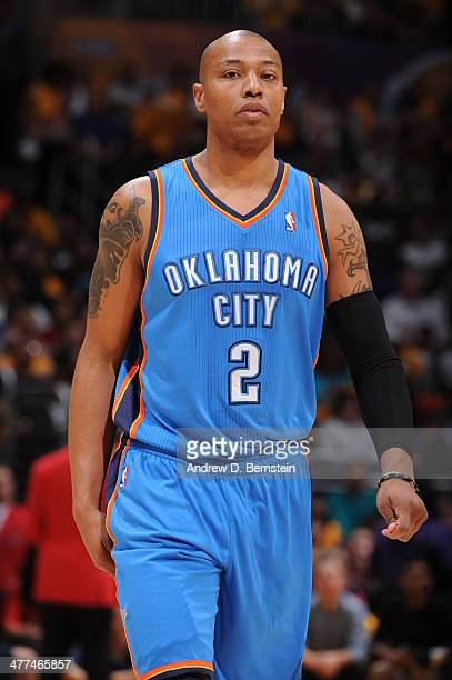 Caron Butler of the Oklahoma City Thunder during a game against the Los Angeles Lakers at STAPLES Center on March 9 2014 in Los Angeles California...