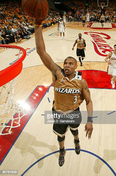 Caron Butler of the Washington Wizards dunks against the Cleveland Cavaliers in Game One of the Eastern Conference Quaterfinals during the 2008 NBA...