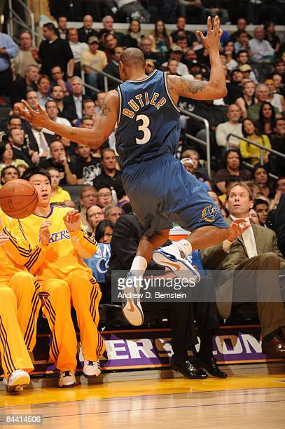 Caron Butler of the Washington Wizards jumps out of bounds after chasing a loose ball during a game against the Los Angeles Lakers at Staples Center...