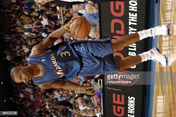 Caron Butler of the Washington Wizards looks to drive against the Orlando Magic November 23 2005 at TD Waterhouse Centre in Orlando Florida The Magic...