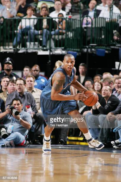 Caron Butler of the Washington Wizards moves the ball against the Dallas Mavericks at the American Airlines Center on February 15 2006 in Dallas...