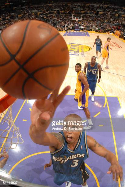 Caron Butler of the Washington Wizards puts up a shot against the Los Angeles Lakers at Staples Center January 22 2009 in Los Angeles California NOTE...