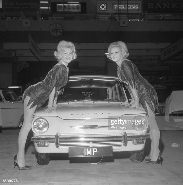 Caron Gardner of Acton London and Claire Collins of Coombe Hill Surrey are pictured with the Hillman Imp which is making its first London Motor Show...