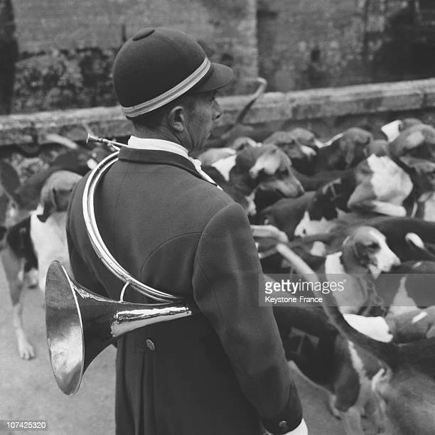 Carouge Castle Hunting Guard Among Dogs In Normandy In France During Fifties