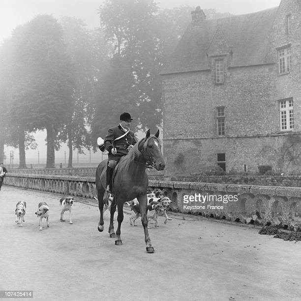 Carouge Castle Hunting Man Going For A Ride In Normandy In France During Fifties