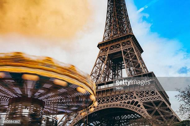 Carousel and Tour Eiffel in Paris