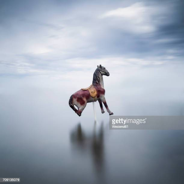 Carousel horse in a lake
