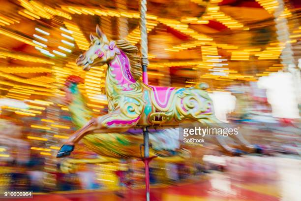 Carousel Horse with Motion Blur Background