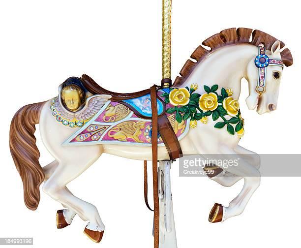 carrossel de cavalo com rosas amarelas - roda imagens e fotografias de stock