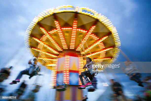 A carousel in Energylandia Amusement Park in Zator Poland on 14 July 2018 Energylandia is the largest amusement park in the country located in Lesser...