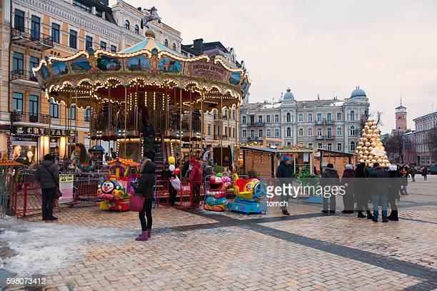 Carousel on a Christmas fair