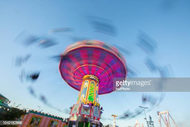 A carousel seen with a long time exposure on Day 4 of the Oktoberfest The Oktoberfest or Wiesn in Bavarian is the world's largest Volksfest It will...