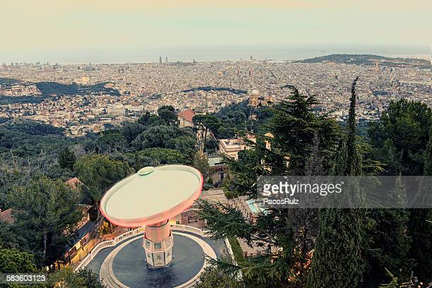 carousel swings - tibidabo stock pictures, royalty-free photos & images