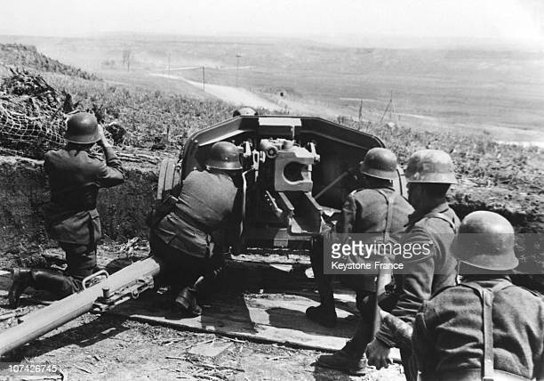 Carpathian Mountains Romanian And German Heavy Artillery In Romania On 1944