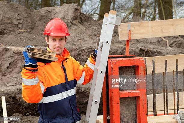 Carpenter at construction site.