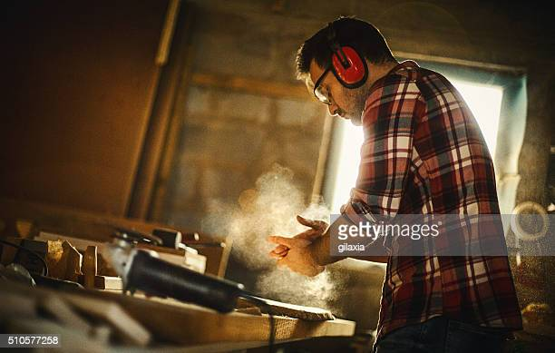 carpenter finishing work. - craftsman stock photos and pictures