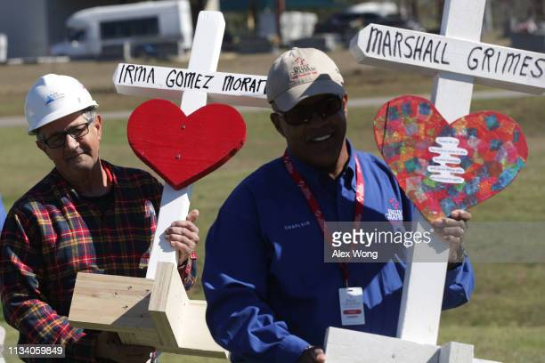 Carpenter Greg Zanis of Chicago delivers wooden crosses at Providence Baptist Church for tornado victims March 6 2019 in Opelika Alabama Numerous of...
