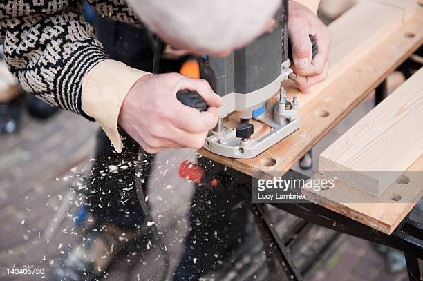 Carpenter milling wood