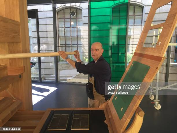 Carpenter PierreYves Schenker with his replica Gutenberg printing press at the International Museum of the Reformation in Geneva Switzerland 29 May...