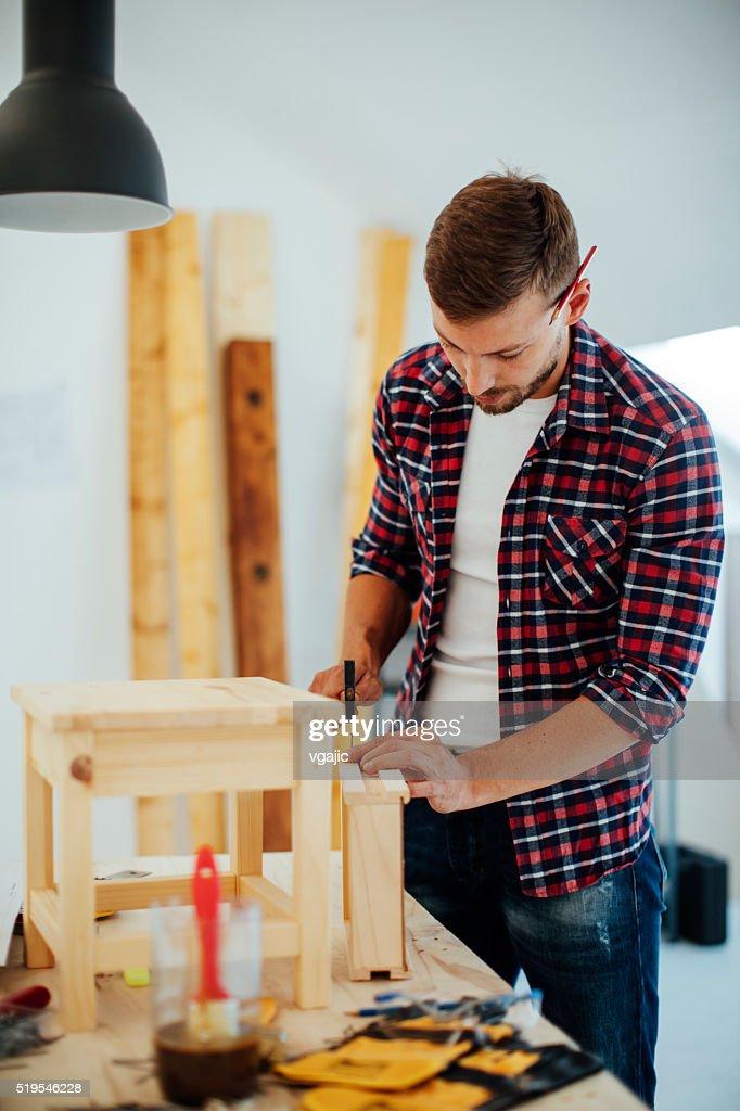 Superieur Carpenter Repairing Furniture : Stock Photo