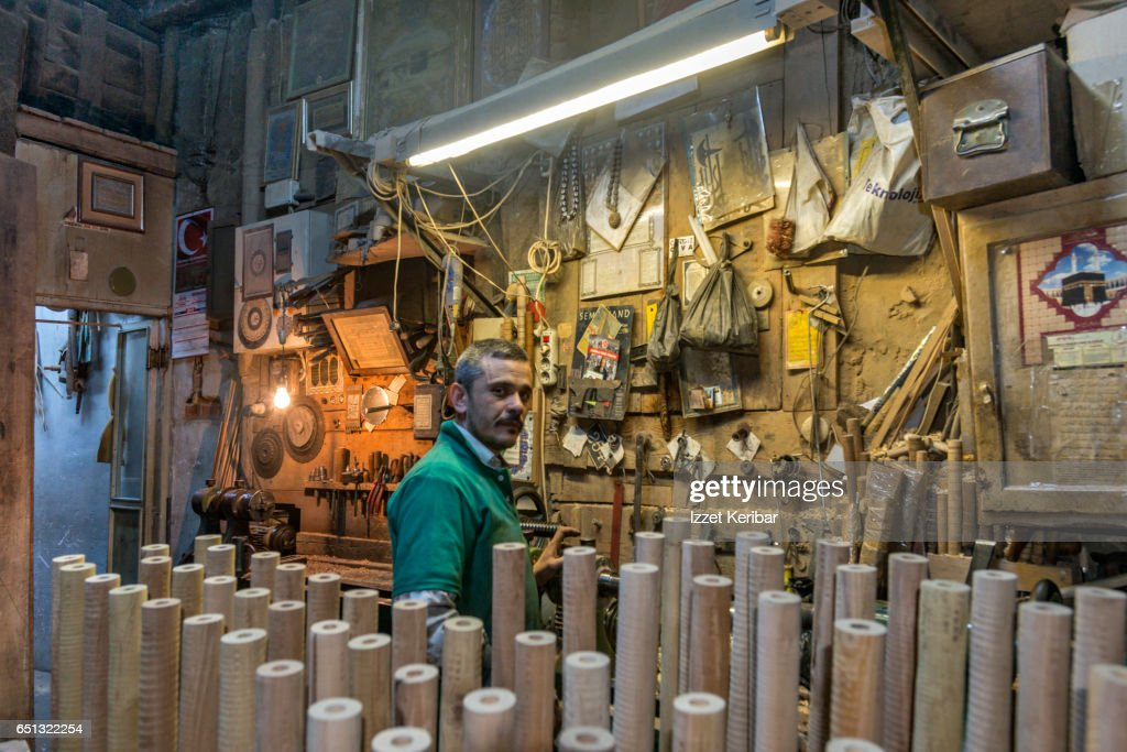 Carpenter Shop Manufacturing Wooden Clarinets At Tahtakale Istanbul