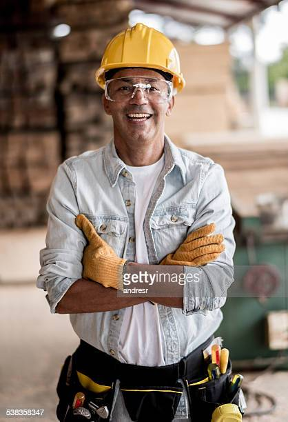 Carpenter wearing protective workwear