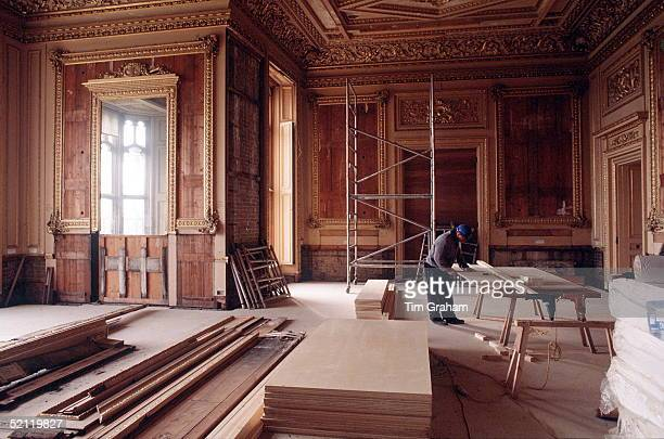 Carpenter Works On The Restoration Of The Green Drawing Room At Windsor Castle Following The Disastrous Fire Of November 1992