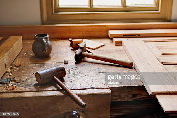 Carpenter's workbench and tools