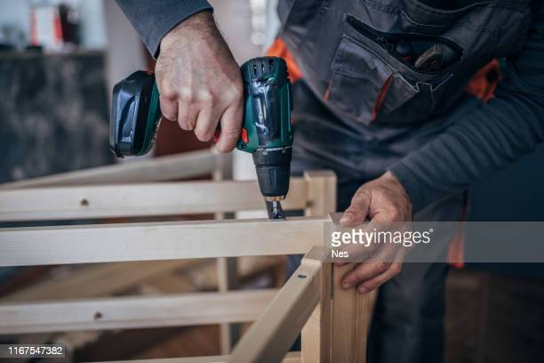 carpentry - using a cordless drill - drill stock pictures, royalty-free photos & images