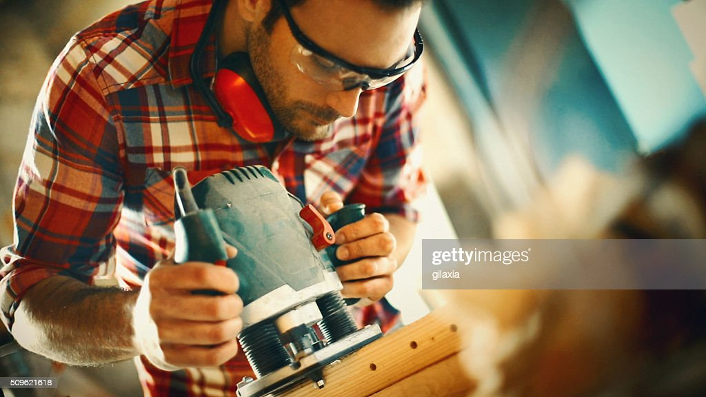 Carpentry workshop routine. : Stock Photo