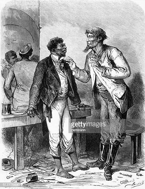 Carpet-bagger talking to a liberated Afro-American. From a French woodcut, 1872.
