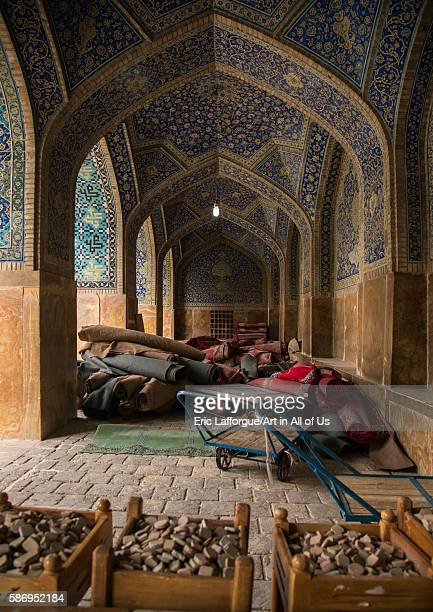 Carpets and kerbala stones inside jameh masjid or friday mosque isfahan province isfahan Iran on January 5 2016 in Isfahan Iran