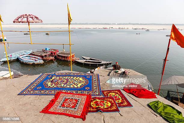 Carpets drying on ghats of Varanasi, India