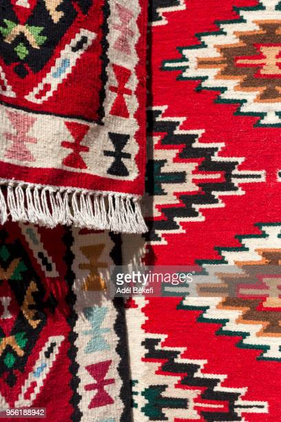 carpets for sale in carpet shop  (skopje, old bazaar) - skopje stock pictures, royalty-free photos & images