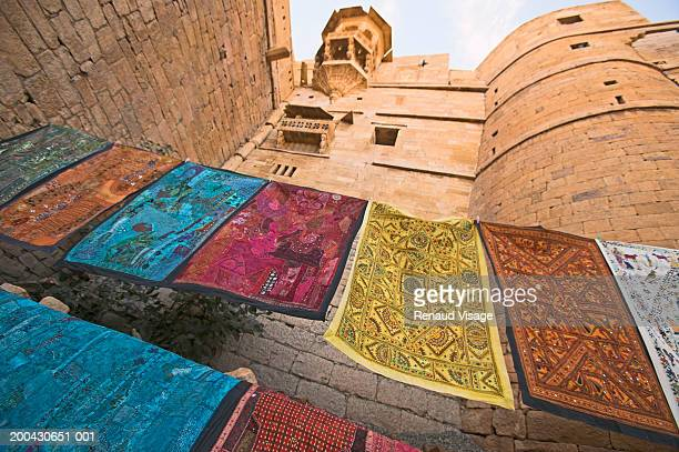 Carpets hanging in front entrance to Jaisalmer Fort, low angle view