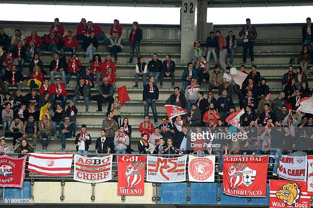 Carpi during the Serie A match between AC Chievo Verona and Carpi FC at Stadio FC fans shows their support Marc'Antonio Bentegodi on April 9, 2016 in...