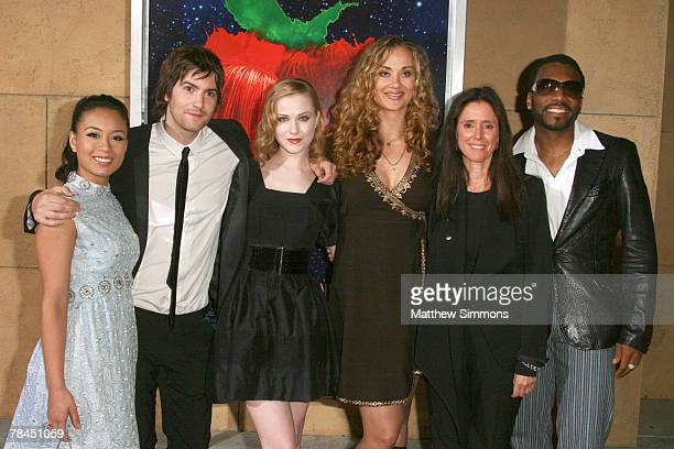 V Carpio Jim Sturgess Evan Rachel Wood Dana Fuchs Julie Taymor and Martin Luther arrives to a screening of 'Across the Universe' at the Egyptian...