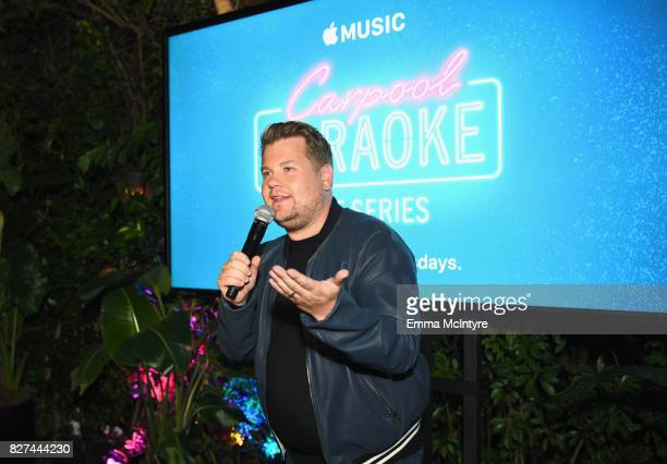Carpool Karaoke Series Executive Producer James Corden speaks at Apple Music Launch Party Carpool Karaoke The Series with James Corden on August 7...