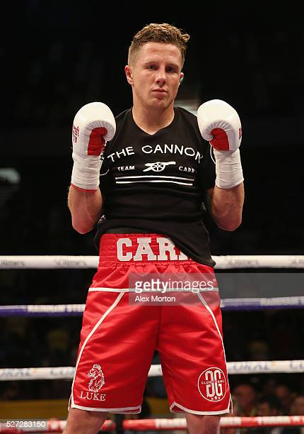Carr celebrates victory over Qasim Hussain after the Super Featherweight Contest between D.P. Carr and Qasim Hussain at Copper Box Arena on April 30,...