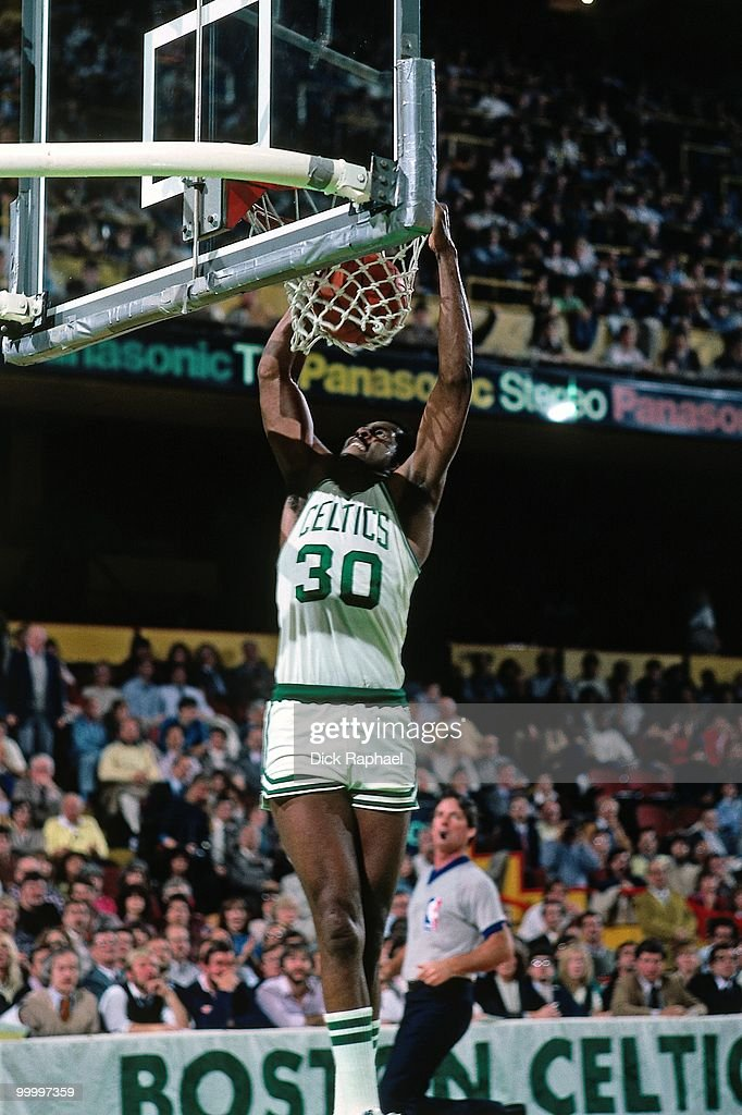 ML Carr #30 of the Boston Celtics dunks during a game played in 1983 at the Boston Garden in Boston, Massachusetts.