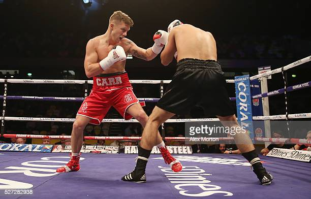 Carr on his way to victory over Qasim Hussain during the Super Featherweight Contest between D.P. Carr and Qasim Hussain at Copper Box Arena on April...