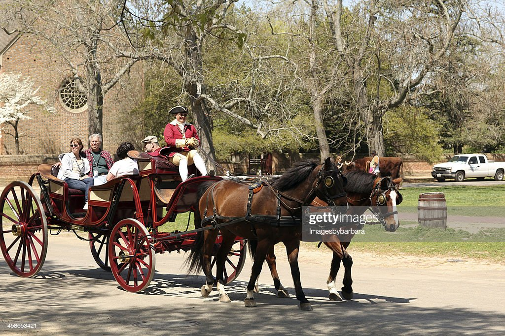 Carraige ride in Colonial Times. : Stock Photo