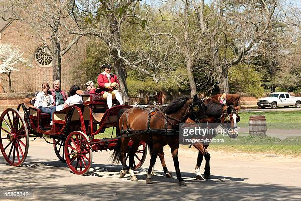 carraige ride in colonial times. - colonial williamsburg stock photos and pictures
