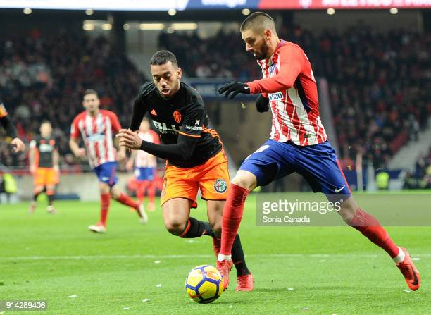 Carrasco #10 of Atletico de Madrid during the La Liga match between Club Atletico de Madrid and Valencia at Wanda Metropolitano on February 4 2018 in...